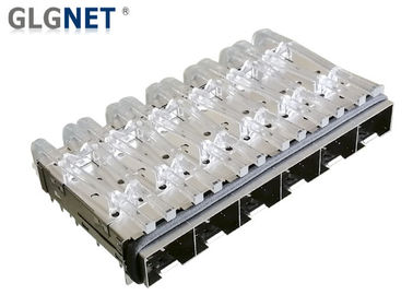 Low Emission 6 Ports SFP Cage Connector Elastomeric Gasket Press Fit Mounting